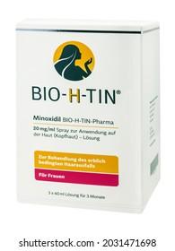 Hamburg, Germany - August 21  2021:  Bio-H-Tin Pharma Minoxidil Spray