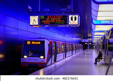 HAMBURG, GERMANY, AUGUST 22, 2016: Hamburg modern Underground Station (U Bahn) in Hamburg