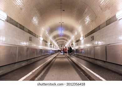 HAMBURG, GERMANY - AUGUST 28, 2014: Old Elbe Tunnel or St. Pauli Elbe Tunnel under river Elbe in Hamburg. The public structure was built in 1911.