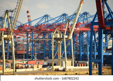 Hamburg / Germany - August 3, 2017: Port of Hamburg, Germany - View of the Burchardkai Container terminal - import export and transport industry background
