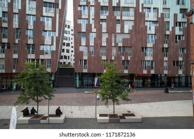 HAMBURG, GERMANY - AUGUST 31  2018: Living and working in Überseequartier.