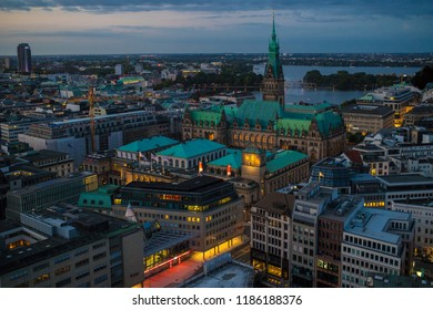 HAMBURG, GERMANY - AUGUST 31  2018: View from the tower St. Nikolai to the town hall and the Alster.