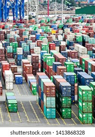 Hamburg, Germany - August 4, 2018: View over many rows of stacked containers in the Terminal Steinwerder of the Port of Hamburg.