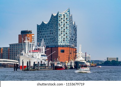 Hamburg, Germany - August 8, 2018: View of the concert hall Elbphilharmonie and the harbor in Hamburg, Germany.