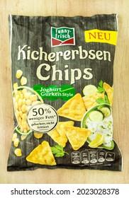 Hamburg, Germany - August 8,  2021:  Kichererbsen Chips Funny Frisch