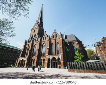 HAMBURG, GERMANY - CIRCA MAY 2017: Hauptkirche St Petri (St Peter Church) aka Petrikirche