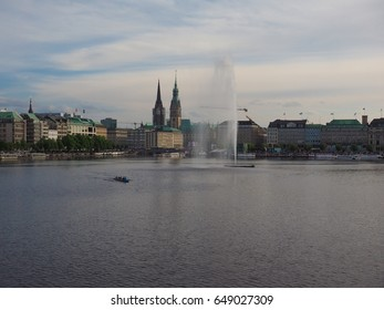 HAMBURG, GERMANY - CIRCA MAY 2017: Alster Fountain at Binnenalster (meaning Inner Alster lake)