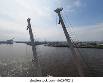 HAMBURG, GERMANY - CIRCA MAY 2017: Hamburger Hafen (Port of Hamburg) sea port on the river Elbe