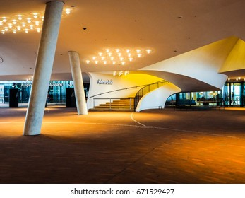 HAMBURG, GERMANY - CIRCA MAY 2017: The Plaza at Elbphilharmonie concert hall designed by Herzog and De Meuron, hdr
