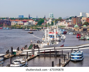 HAMBURG, GERMANY - CIRCA MAY 2017: Aerial view of the city skyline seen from Hafencity, hdr