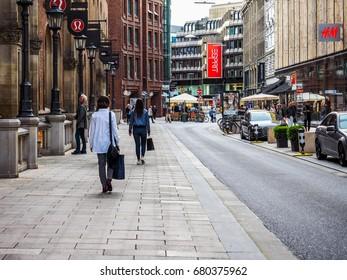 HAMBURG, GERMANY - CIRCA MAY 2017: Tourists visiting the city of Hamburg, hdr
