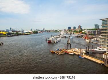 HAMBURG, GERMANY - CIRCA MAY 2017: Hamburger Hafen (Port of Hamburg) sea port on the river Elbe, hdr