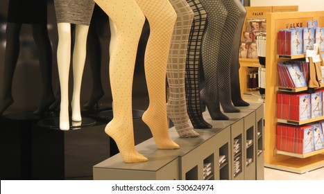 HAMBURG, GERMANY - CIRCA NOVEMBER 2016: hosiery department in a store