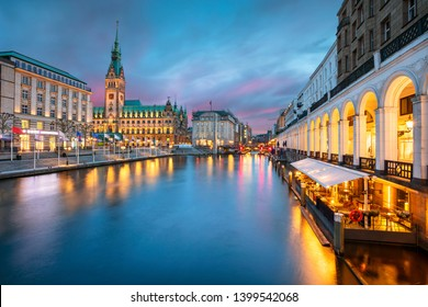 Hamburg, Germany. Cityscape image of Hamburg downtown with City Hall during sunset.