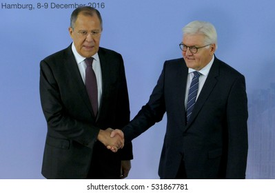 Hamburg, Germany. December 12th 2016: German Foreign Minister Dr Frank-Walter Steinmeier welcomes Sergey Lavrov, Minister of Foreign Affairs of Russian Federation at the 23rd OSCE Ministerial Council