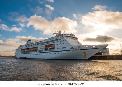 Hamburg Germany - December 16. 2017: Cruise ship Columbus in Hamburg Cruise Center Steinwerder