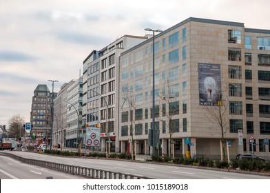 Hamburg Germany - December 17. 2017: street and buildings in city center of Hamburg