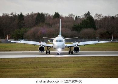 Hamburg, Germany - December 30, 2018:  Airbus A320-214 on the Runway of Airport Hamburg in germany - D-AEWN, Eurowings Airbus A320-214