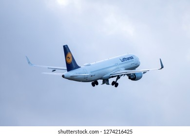 Hamburg, Germany - December 30, 2018:  Airbus A320-214 take off from the Airport Hamburg in germany - D-AIZZ, Lufthansa Airbus A320-214