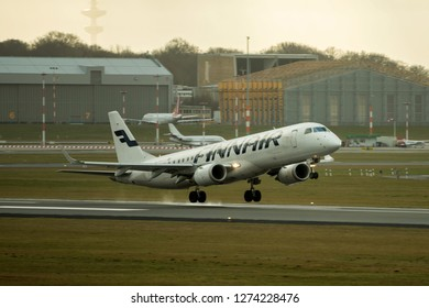 Hamburg, Germany - December 30, 2018:  Embraer ERJ-190LR take off from the Airport Hamburg in germany - OH-LKI, Finnair Embraer ERJ-190LR
