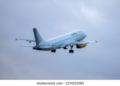 Hamburg, Germany - December 30, 2018:  Airbus A320-232 take off from the Airport Hamburg in germany - EC-MVN, Vueling Airbus A320-232