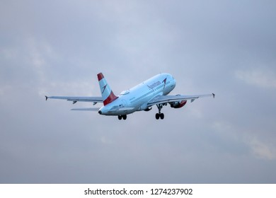 Hamburg, Germany - December 30, 2018:  Airbus A319-112 take off from the Airport Hamburg in germany - OE-LDG, Austrian Airlines Airbus A319-112