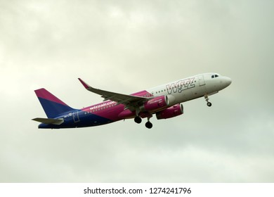 Hamburg, Germany - December 30, 2018:  Airbus A320-232 take off from the Airport Hamburg in germany - HA-LYQ, Wizz Air Airbus A320-232