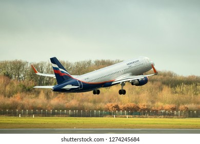 Hamburg, Germany - December 30, 2018:  Airbus A320-214 take off from the Airport Hamburg in germany - VP-BFG, Aeroflot Airbus A320-214