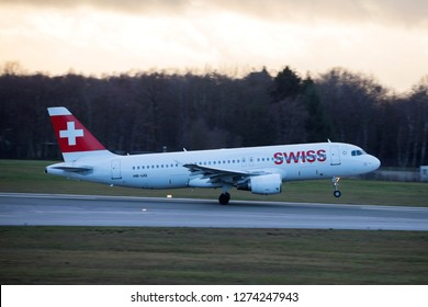 Hamburg, Germany - December 30, 2018:  Airbus A320-214 take off from the Airport Hamburg in germany - HB-IJQ, Swiss Airbus A320-214
