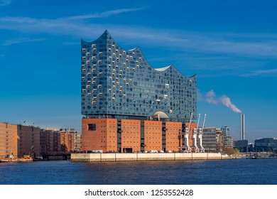 Hamburg, Germany - December 5, 2018: View of the concert hall Elbphilharmonie in Hamburg, Germany, on a sunny afternoon.