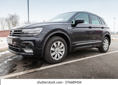 Hamburg, Germany - February 10, 2017: Outdoor photo of second generation Volkswagen Tiguan, 4x4 R-Line. Black compact crossover vehicle CUV manufactured by German automaker Volkswagen