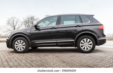 Hamburg, Germany - February 10, 2017: Outdoor side photo of second generation Volkswagen Tiguan, 4x4 R-Line. Compact crossover vehicle CUV manufactured by German automaker Volkswagen