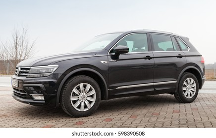 Hamburg, Germany - February 10, 2017: Outdoor photo of second generation Volkswagen Tiguan, R-Line. Black compact crossover vehicle CUV manufactured by German automaker Volkswagen