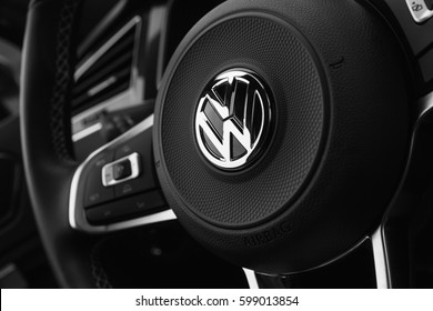 Hamburg, Germany - February 10, 2017: Black steering wheel with logotype of second generation Volkswagen Tiguan, 4x4 R-Line. Compact crossover vehicle manufactured by German automaker Volkswagen