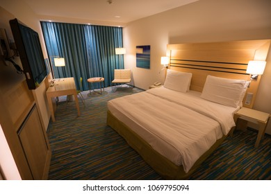 HAMBURG, GERMANY - February 11, 2018: View of a room in Radisson Blu Airport Hotel in Hamburg.