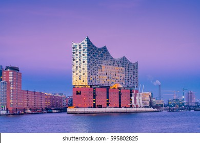 Hamburg, Germany - February 14, 2017: View of the concert hall Elbphilharmonie in Hamburg, Germany, at dusk.