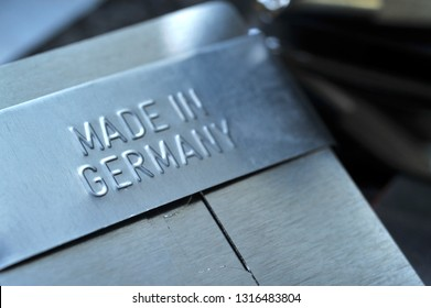 Hamburg /Germany - February 15, 2019: Made in Germany - sign in metal embossed with raised letters - The sign symbolizes good quality and reliability