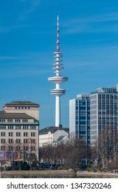 Hamburg, Germany - February 15, 2019: The Heinrich Hertz Tower (German: Heinrich-Hertz-Turm) landmark radio telecommunication tower in the city of Hamburg.