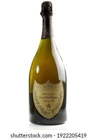 HAMBURG, GERMANY, February 15 - 2021: Dom Perignon champagne bottle isolated on white Background
