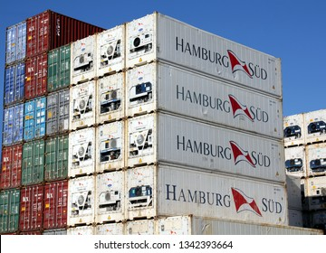 HAMBURG, GERMANY - FEBRUARY 24, 2019: Plenty of refrigerated shipping containers of Hamburg Süd container shipping company stacked at the Port of Hamburg