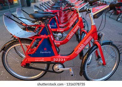 Hamburg, Germany - February 3, 2019: Public rental bikes downtown.