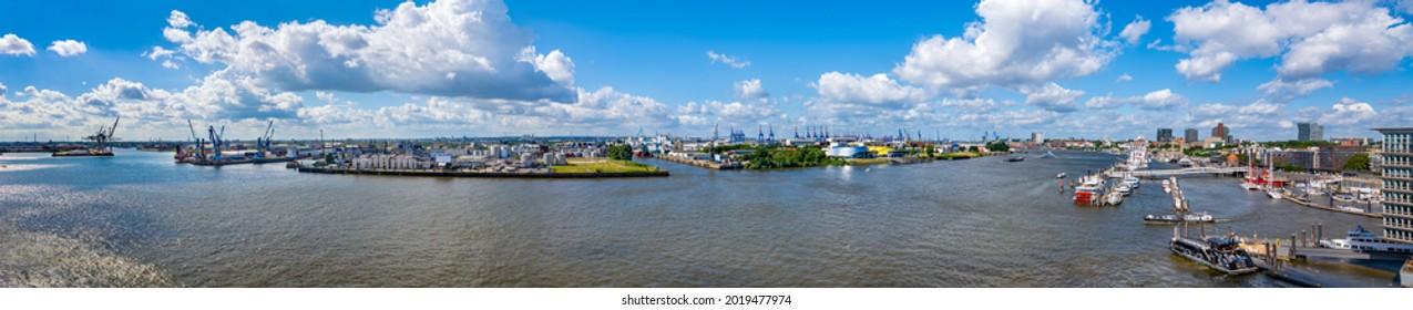 Hamburg, Germany. The harbor. Panoramic aerial view.
