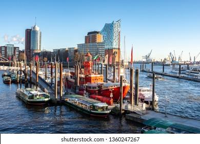 HAMBURG, GERMANY - JANUARY 07, 2017 : Hamburg Skyline Port City and  Elbphilharmonie Hamburg modern buildings in the background.