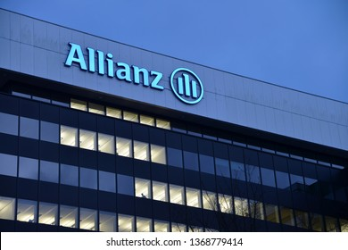 Hamburg / Germany - January 28, 2013: Night view of Allianz office in Hamburg, Germany - Allianz SE is a European financial services company headquartered in Munich, Germany