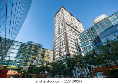 HAMBURG, GERMANY - JULY 01, 2018: Tall modern buildings with smooth reflections in the windows. Hamburg, Germany.