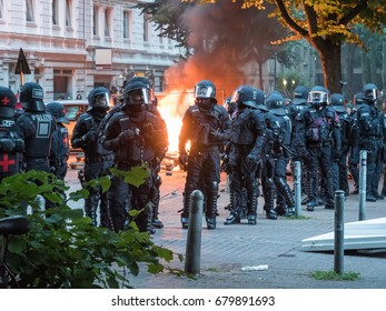 Hamburg, Germany - July 07, 2017: Shot of a fire caused by demonstrators during G20 summit in Hamburg, Germany