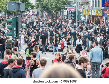 Hamburg, Germany - July 07, 2017: Shot of demonstrators on Reeperbahn in Hamburg during G20 summit 2017