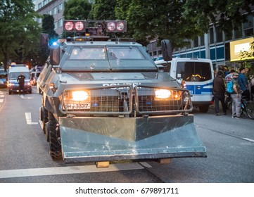 Hamburg, Germany - July 07, 2017: Shot of a armored police truck during G20 summit in Hamburg 2017