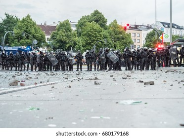 Hamburg, Germany - July 07, 2017: Police forms a roadblock during G20 summit in Hamburg 2017