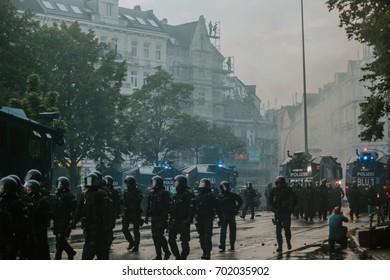 Hamburg, Germany - July 07, 2017: Riot police during G20 summit in Hamburg 2017